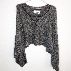 Aiko Cropped Long Sleeve Cashmere Wool Sweater